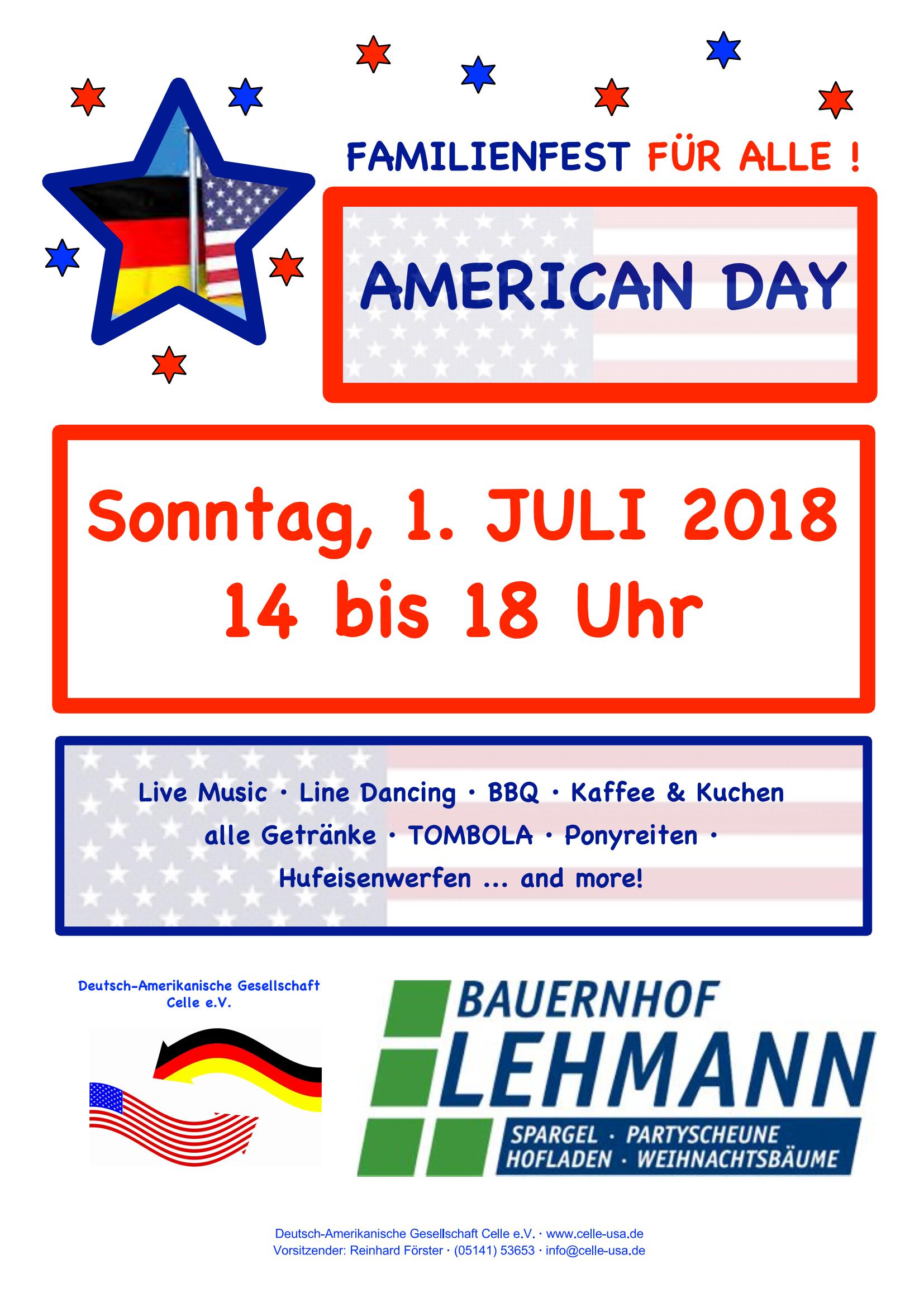American Day am Sonntag, den 01.07.2018 – Bauernhof Lehmann